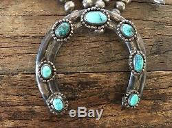 Antique Vintage Sterling Silver Turquoise Squash Blossom Bead Necklace 60s 70s