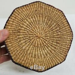 Antique Vintage Sweetgrass Woven Native American Indian Covered Basket