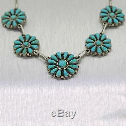Antique Vintage Zuni Indian Sterling Silver Turquoise Necklace