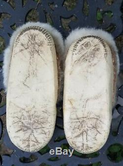 Antique Vtg Native American Indian Beaded Rosette Leather Moccasins Beadwork