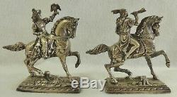 Antique/Vtg Pair Native American Navajo Indian on Horse Silver Metal Bookends