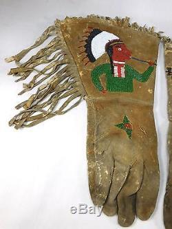 Antique Western Americana Native American Indian Beaded Deerskin Gauntlet Gloves