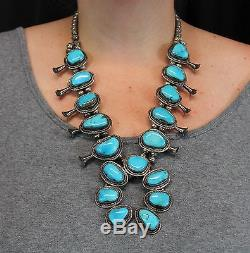 Antique Western Navajo Indian Silver & Turquoise Naja Squash Blossom Necklace