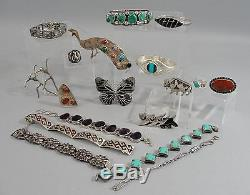 Antique Western Navajo Native American Indian Silver & Turquoise Cuff Bracelet