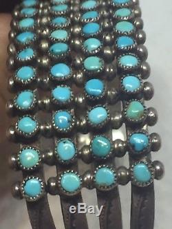 Antique ZUNI NATIVE AMERICAN SS FOUR ROWS OF TOURQUOISE CUFF BRACELET Snake Eye