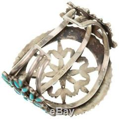 Antique Zuni Bracelet LONE MOUNTAIN Turquoise Petitpoint Snowflake Cuff Old Pawn