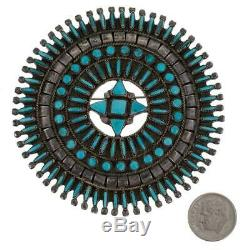 Antique Zuni Turquoise Brooch MEDICINE WHEEL Petitpoint Old Pawn Natural 1940's