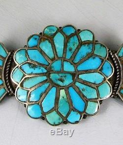 Antique Zuni Turquoise Channel Inlay Pin withSide Crests