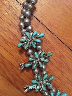Antique Zuni Vtg Native American Turquoise Silver Squash Blossom Necklace