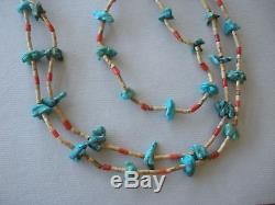 Antique Zuni fetish necklace turquoise bear turtle bird
