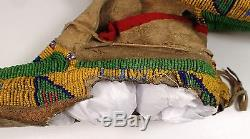 Antique c1890 Native American Plains Indian Seed Bead Beaded Moccasins Leather