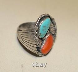 Antique handmade sterling silver turquoise Coral Native American Navajo men ring