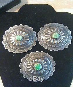 Antique silver and turquoise conchas. Set of nine. Beautiful