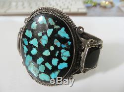 Antique turquoise cuff sterling bracelet