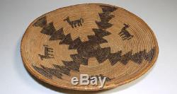 Apache woven polychrome basket bowl 13.5 antique with horses Native American