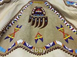 Arturo Burray Olson Native American Beaded Art Leather Jacket Stunning Piece R21