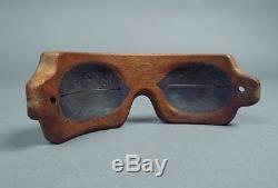 Attractive Inuit Eskimo Carved Wood SNOW GOGGLES
