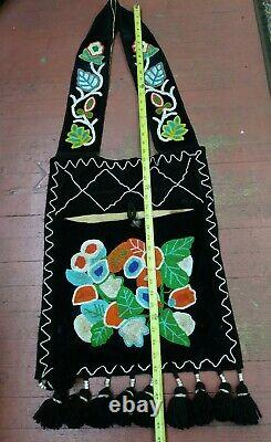Authentic Antique Native American Beaded Woodland Style Bandolier Bag Circa 1900