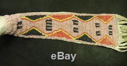 Authentic Cheyenne Indian Pipe Tomahawk Forged Gun Barrel Head Beaded Drop 1840