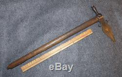 Authentic Mid 1800's Sioux Indian Spontoon Pipe Tomahawk Forged Iron Head Heart