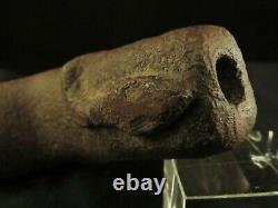 Authentic Native American Mound Builder Adena Snake Effigy Stone Pipe