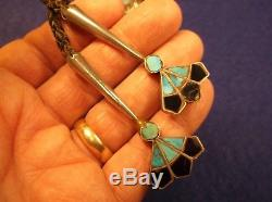 Awesome Vtg Antique Sterling Silver & Turquoise Massive Chieftain Bolo Tie