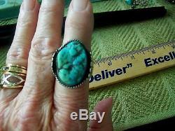 BIG Green/Blu nugget gem Antique Sterling Turquoise Ring exel old gem