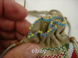 Beaded Native American Indian Medicine Bag Leather Necklace Pouch 1920's Antique