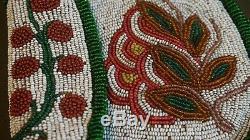 Beautiful 1900 Native American Umatilla Yakama 2 Sided Fully Beaded Pouch Cherry