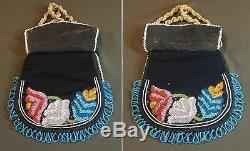 Beautiful 19th Century Native American Iroquois 2 Sided Beaded Bag Pouch