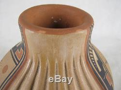 Bertha Gachupin SIGNED Jemez Pueblo Native American Indian Corn Pottery Vase yqz