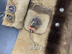 Burray Olson Custom Bison Coat Beaded Sterling Concho Fringe Vtg Native American