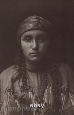 C. 1900/72 Photo Gravure NATIVE AMERICAN INDIAN Kutenai Girl EDWARD CURTIS 11x14