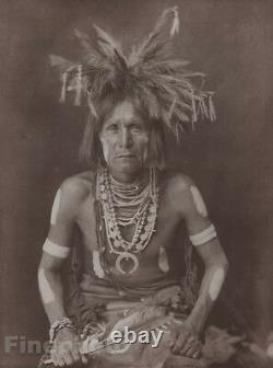 C. 1900/72 Photo Gravure NATIVE AMERICAN INDIAN Snake Priest EDWARD CURTIS 11x14