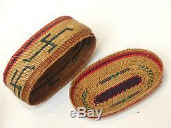 C. 1900 Antique Northwest Coast Native American Indian Makah Oval Charm Basket