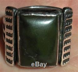 C. 1920 NAVAJO COIN SILVER INGOT RING DARK TURQUOISE STONE & STAMPWORK vafo