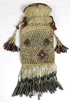 C1900 Native American Chippawa Indian Bead Decorated Hide Jingle Bag / Dance Bag