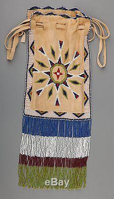 Ca1900 NATIVE AMERICAN APACHE INDIAN BEAD DECORATED HIDE POSSIBLE BAG