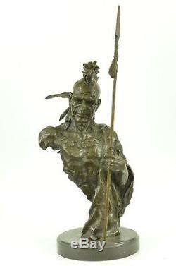 Cherokee Native American Indian South Western Art Bronze Marble Statue Sculpture