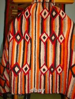Colorful Antique Navajo Rug Native American Double Saddle / Child Blanket