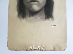 Conrad Buff Drawing Original Antique Vintage American Indian Native Portrait