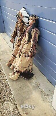 Duck House Heirloom Dolls Native American Indian Dolls 48 Tall Porcelain