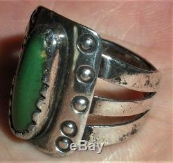 EARLY c. 1900 NAVAJO COIN SILVER INGOT RING TURQUOISE STONE & STAMPWORK vafo