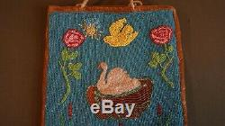 Early 1900 1910 Native American Plateau Beaded Bag White Swan & Bird