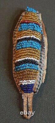 Early 1900 Native American Blackfoot Flathead Beaded Drop
