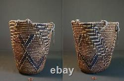 Early 1900 Native American NW Imbricated Klickitat Huckleberry Basket FEZ Design
