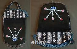 Early 1900 Native American Plains Crow Flathead Contour Beaded Bag