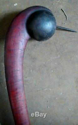 Early Antique Native American Indian Wooden Ball Headed Spike War Club Weapon
