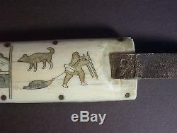 Eskimo Inuit Yupik (Chukchi) Siberia Antique Scrimshaw Knife. Uelen/Whalen