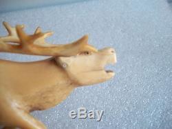 Eskimo Inuit Yupik (Chukchi) Siberia Antique arving Reindeer Figurine